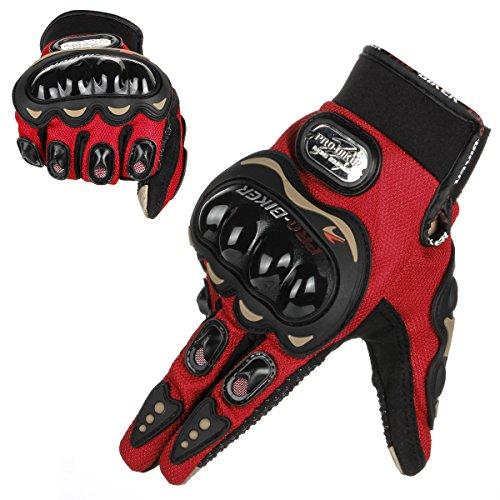 GES Men Outdoor Motorbike Waterproof Gloves Motocicleta Full Finger Touch Screen Racing Motocross Guantes (L, Rojo)
