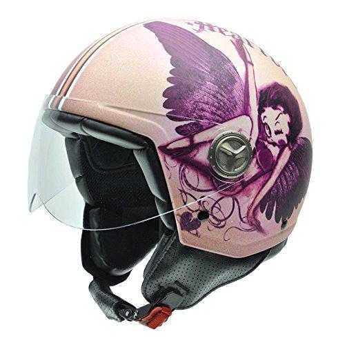 NZI Zeta Betty Boop Motorradhelm, Mehrfarbig (Zeta Heartbreaker), S