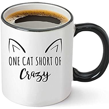 One Cat Short Of Crazy Funny Ceramic Coffee Mug 12oz - Unique Novelty Gift Idea for Cat Lovers - Perfect Birthday or Christmas Present for Men and Women - Sarcastic Grumpy Cats Meme Tea Cup