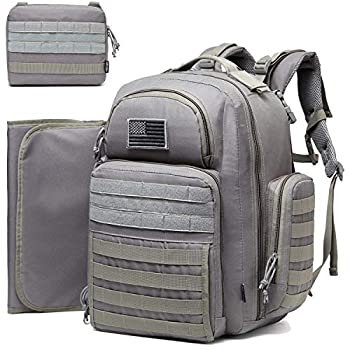 Diaper Bag Backpack for Dad DBTAC Large Baby Nappy Bag for Men w/Changing Mat Insulated+Wipe Pockets Stroller Straps Grey