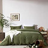 NexHome Duvet Cover Sets Queen Size Olive Green Double Brushed Microfiber Button Closure & Corner Ties-Breathable and Soft-3pcs