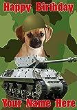 Tarjeta de felicitación personalizada de cumpleaños A5 con diseño de perro J67 del ejército militar de Puggle (texto en inglés)