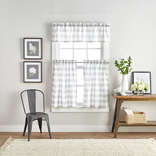 """Curtainworks Country Modern Rustic Farmhouse Buffalo Check Kitchen Curtains Window Valance and Cafe Tiers, 36"""" Tier & Valance Set - 3 Pc, Grey"""