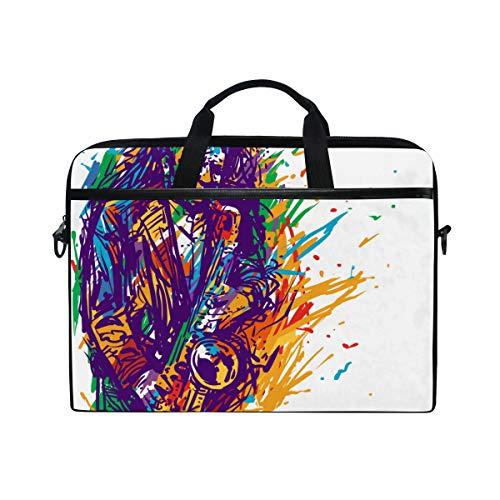 BEITUOLA 15-15.4 Zoll Laptop Taschen,Jazz Saxophone Player Musiker Saxophonist Zusammenfassung,Verschiedene Muster multifunktionale Laptop Tasche tragbare Hülle Aktentasche Umhängetasche
