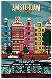 qianyuhe Cuadros artísticos de Pared Nueva York Países Bajos Ámsterdam Londres Vintage Viajes Ciudades Paisaje impresión póster decoración de la Pared del hogar 60x90cm