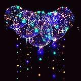6 Packs LED Light Up BoBo Balloons Colorful,10 PCS Bobo Balloons,3 Levels Flashing LED String Lights,20 Inches Bubble Balloons Helium Style, for Christma/Birthday/Wedding Party Decoration