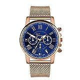 Reloj de oro rosa para mujer 2021 Top Brand Luxury Magnetic Starry Sky Lady Reloj de pulsera de malla para Dropship relogio Feminino, azul, talla única,
