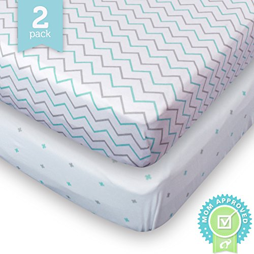 Sale!! Ziggy Baby Crib Sheets Toddler Bedding Fitted Jersey Cotton 2 Pack Chevron Cross Blue/Grey
