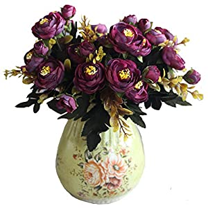 Silk Flower Arrangements Calcifer 10 Sets (6 Stems/Set) 11''Artificial Camellia Flowers Bouquet for Home Decoration/Wedding Decor (Purple)