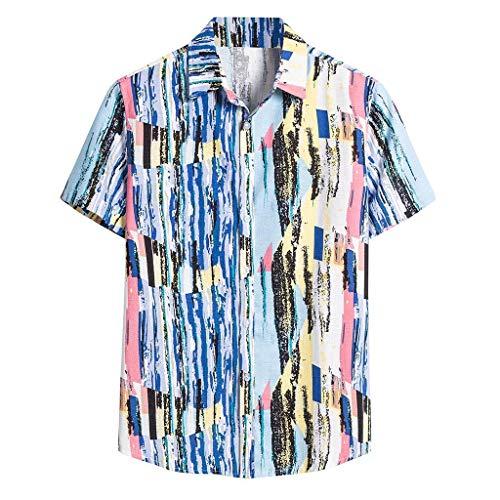 Yowablo Herren Kurzarm Shirt Einfarbig Freizeithemd Casual Hemden Leichte Atmungsaktives Bequem Leinen Sommerhemden Loose Fit (5XL,8Blau)