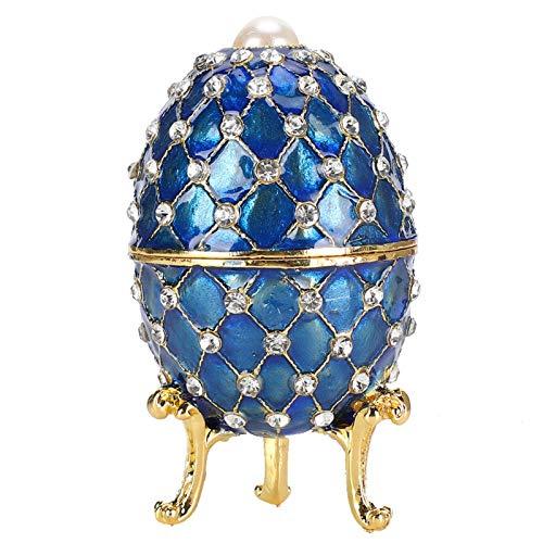 KUIDAMOS Emailliertes Ei, vergoldete bemalte Metallverzierungen, Schmuckkästchen, bemaltes emailliertes Faberge-Ei, einzigartiges Geschenk Home Decorative Crafts