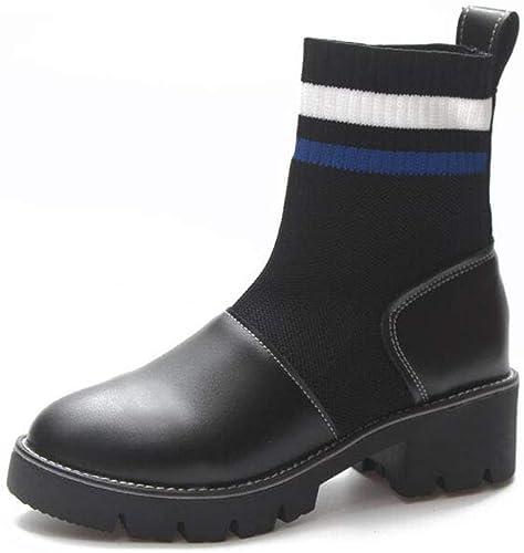 FF Chaussettes Bottes Bottes Extensible Bottes Bottes Bottes Femme Martin Bottes Talon épais Bas Bottes Moto (Couleur   bleu, Taille   EU36 UK3.5 CN35) 0a2