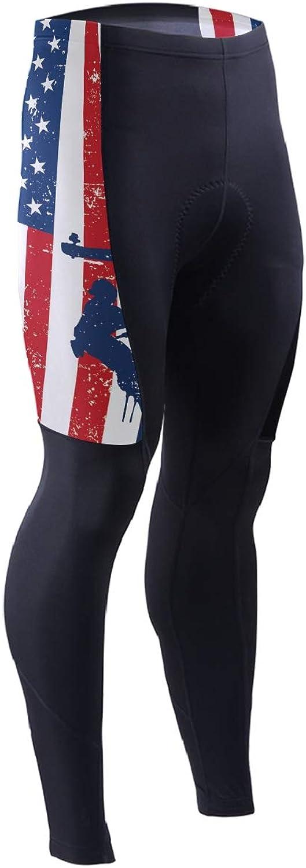 DERLONKAJE Men's Bicycle Pants American Flag Thin blueee Line Cycling Tights MTB Leggings
