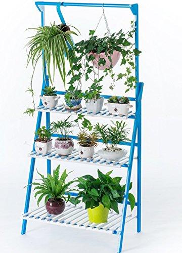 Salon suspendu à plusieurs étages Porte-fleurs Parquet en bois suspendu panier panier à fleurs (Couleur : Bleu et blanc, taille : 70 * 40 * 96cm)