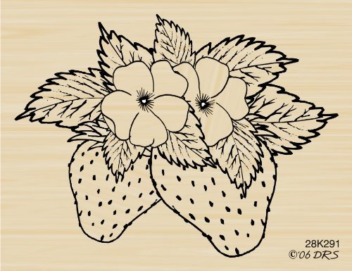 Large Strawberries Rubber Stamp By DRS Designs