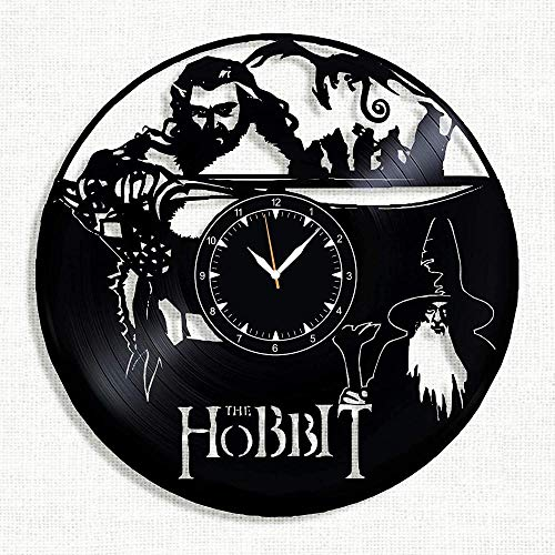WJUNM Lord of the Rings The Hobbit Vinyl Wall Clock Vinyl Record Retro Wall Clock Birthday New Year Christmas Birthday Gift Personality Creative Home Design Mural C