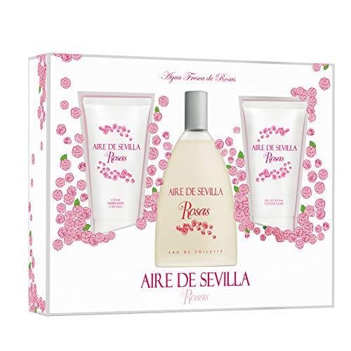 Aire de Sevilla Set de Belleza Edición Rosas - Crema Hidratante Corporal, Eau de Toilette, Gel Exfoliante