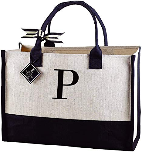 Mud Pie Classic Black and White Initial Canvas Tote Bags (P), 100%...
