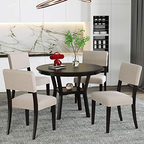 P PURLOVE 5 Pieces Dining Table Set Round Kitchen Table with 4 Upholstered Chairs for Dining Room, Espresso