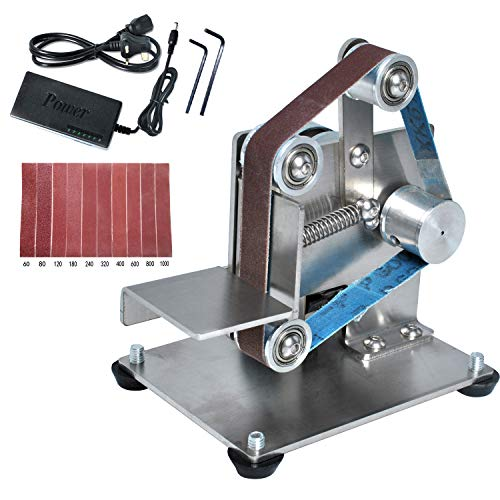 Electric Belt Grinder Machine, Mini Belt Sander with 10pcs 330mm * 15mm Belts Burnishing for Turning/Plastic Polishing/Knife Edge/Wood by Poweka