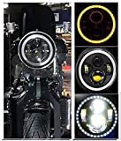 AutoBizarre 7 inch Headlight DRL With Full Ring Angel Eye Projector Light For