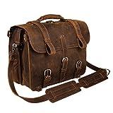 Augus Leather Messenger Bag for Men Briefcase Travel Backpack Shoulder Bag Fit 17'' Laptop