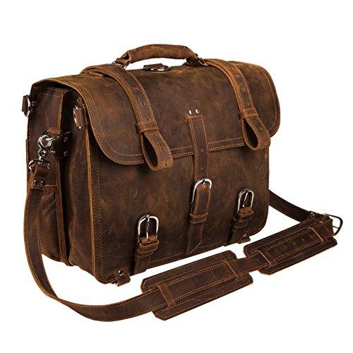 Augus レザーメッセンジャーバッグ メンズ ブリーフケース 旅行用バックパック ショルダーバッグ 17インチのノートパソコンにフィット