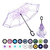 WASING Double Layer Inverted Umbrella Cars Reverse Umbrella, Windproof UV Protection Big Straight Umbrella for Car Rain Outdoor with C-Shaped Handle (Transparent Purple)