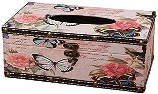 Vintage Union Jack Removable Tissue Box,Supplies Paper Handkerchief Case Napkin Box,European Wooden Paper Box (Color : Butterfly)