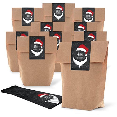 25marrone natalizi piccoli sacchetti di carta (19x 29,5x 7,5cm) + 25fascetta rosso nero bianco Natale Adesivo Santa Buon Natale (7x 21cm) Sacchetti regalo sacchetto di carta Give Aways clienti