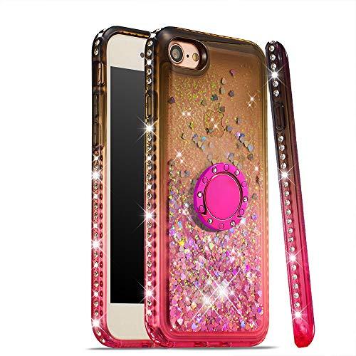 CrazyLemon Hülle for iPhone 6 Plus iPhone 6S Plus, Glänzend Treibsand & Voll Side Strass Design Schwarz + Pink Weich Silikon Handyhülle mit Ringhalter