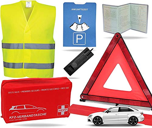 TK Gruppe Timo Klingler 3X 8 in 1 Sicherheit Set 2021 Auto KFZ Warnweste, Warndreieck, Verbandskasten, Parkscheibe, Rettungsdecke, Eiskratzer UVM. - Erste Hilfe bei Unfall (3X)