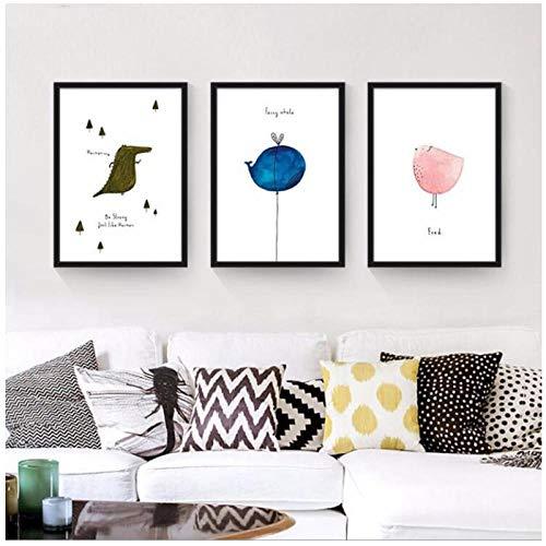 zhaoyangeng Scandinavisch kleine frisse flamingo mute-affiche en druk muurkunst canvas schilderij kinderkamer afbeelding voor woonkamer wooncultuur - 40X50Cmx3 niet ingelijst