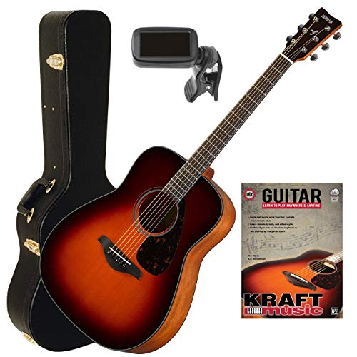 Yamaha FG800 Brown Sunburst Acoustic Guitar with Hardshell Case, Tuner and Lesson Book