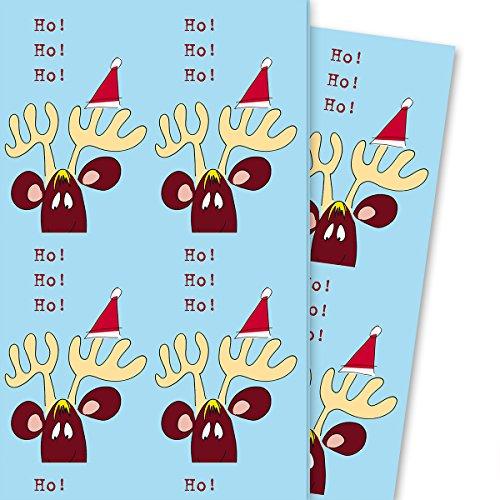 Grappig kerstpapier/kerstcadeaupapier met komisch eland: Ho Ho Ho, lichtblauw (4 vellen, 32 x 48 cm) decoratiepapier, papier om in te pakken, voor een leuke cadeauverpakking en verrassingen.