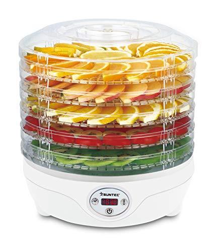 SUNTEC Essiccatore FDH-8595 Dörthe digital [Essiccazione delicata di alimenti con 5 livelli, selettore di temperatura 35-70°C, timer, display LED, max. 240 W]
