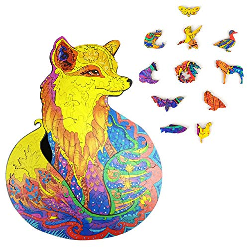 LLSH Magic Wooden Jigsaw Puzzle, Unique Animal Shape Jigsaw Pieces Best Gift for Adults And Kids (Fox)