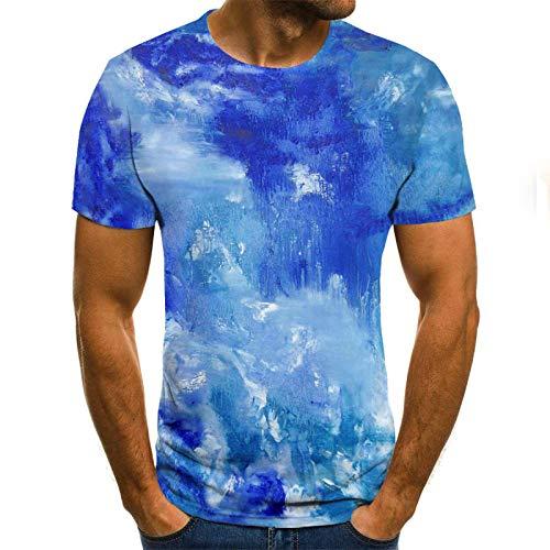 HUITAILANG Camisetas Hombre Gráfico 3D, Camisetas Divertidas, Cielo Estrellado, Manga Corta Talla Grande Suelta, Azul, Mediano