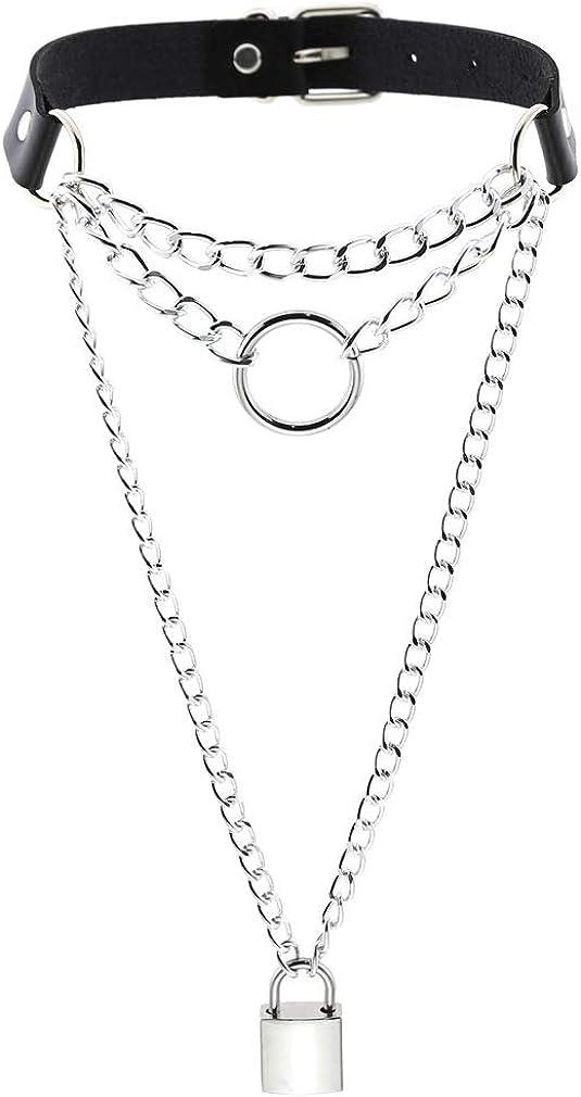 YJFQLBD Women Lock Chain Pendant Necklace Punk Rock Multilayer Choker Collar Necklace