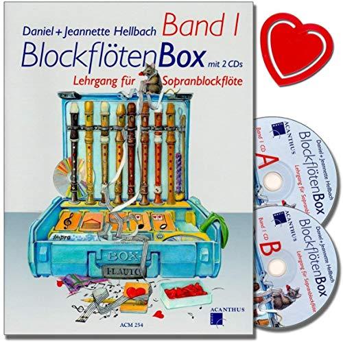 Blockflötenbox 1 - Sopranblockflötenlehrgang für Kinder von Daniel Hellbach - Überarbeitete und verbesserte Neuauflage - Notenbuch mit 2 CDs, Notenklammer ACM254 9990000484201