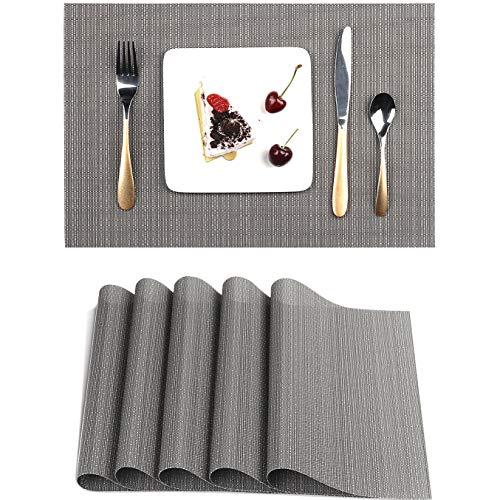 Myir JUN Tovagliette Americane Lavabili Plastica, Tovagliette Non-scivolose Resistenti al Calore, Set da 6 Tovagliette per Tavolo da Cucina (Grigio)