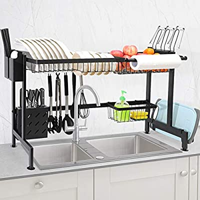 CHASSTOO Over The Sink Dish Drying Rack, Above Sink Kitchen Drain Drainage Rack, Stainless Steel Oversink Decor Dish Drainer Dishrack (Sink Size ? 32.9 inch, Anti-Scratch Matte Black) from TCHIPIE