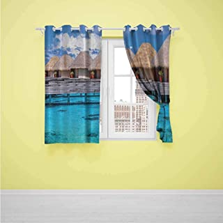 DONEECKL Sliding Curtains Ocean Seaside Decor Bungalows High Resolution Art Prints Seascape Paintings Wooden Docks Dream Vacation Soft Texture W63 x L45 inch Blue Brown Teal White