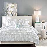 Intelligent Design Waterfall Comforter Reversible Solid Lush Ruffled Stripe Shabby Chic Ultra Soft Microfiber Down Alternative Pleated Decor Pillow Bedding Set, Full/Queen, White