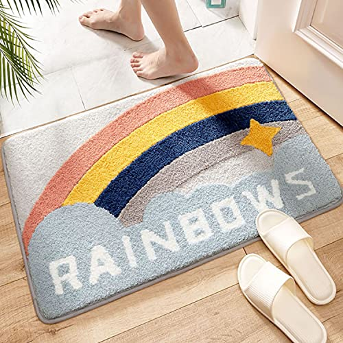 PURITY BABE Bathroom Rug Mat Nonslip Soft Best Water Absorbent Microfiber Rainbow Star Bath Rugs for Shower Tub Bath Room Floor Small Area Carpet Machine Washable Rug for Indoor Bedroom 20X32 Inches