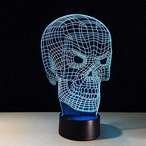 XLLQYY 3D noche luz modelo esqueleto 3D llevó la lámpara 7 cambio de color 3D noche luz colorida cráneo lámpara de mesa