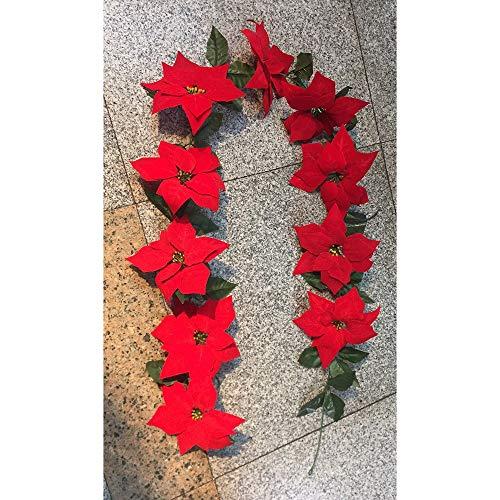 Wjf Kerstmis Bloem Wijnstok Rode Open Haard Trapdecoratie benodigdheden Home Restaurant 2M Decoratie