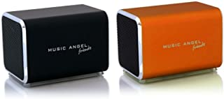 Music Angel Friendz Speaker Twin Pack Bundle for iPhone/iPad/iPod/Mp3/Laptop/Smartphone - Black/Orange