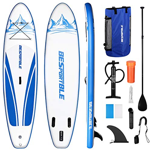 BESPORTBLE Inflatable Stand Up Paddle Board 120x30x6in Paddleboard Includes SUP Accessories Backpack, Surf Control Fin, Ankle Leash, Adjustable Paddle and Hand Pump - Youth & Adult Standing Boat