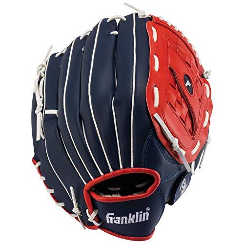 "Franklin Sports Baseball and Softball Glove - Field Master - Baseball and Softball Mitt , Red, White, Blue, 14.0"""